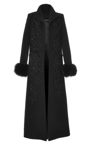 Medium elie saab black wool embroidery and fox fur coat