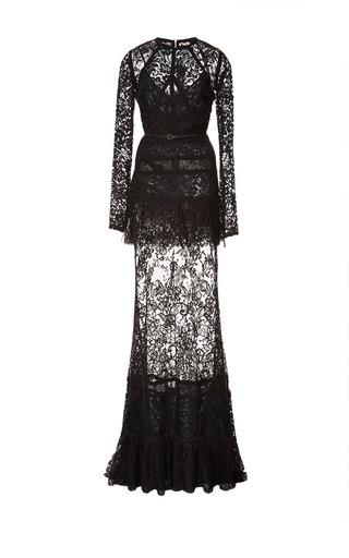 Medium elie saab black long sleeve lace and silk georgette gown