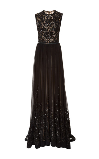 Medium elie saab black embroidered black silk georgette gown