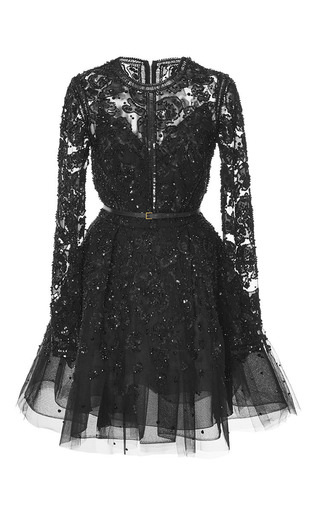 Medium elie saab black embroidered tulle short dress