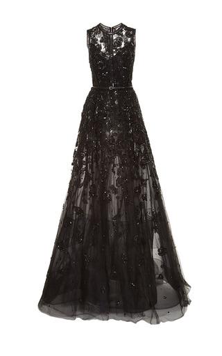 Medium elie saab black embroidered tulle and silk georgette gown