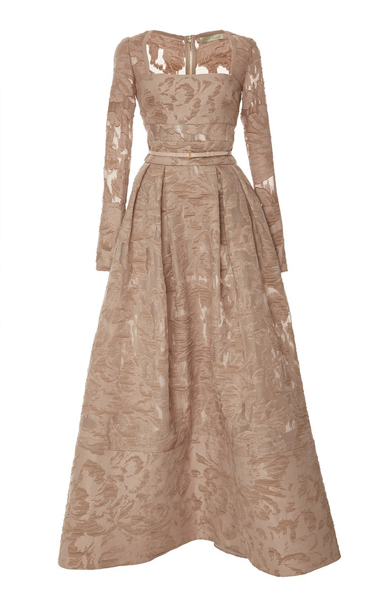 Brocade And Organza Fil Coupe Gown by Elie Saab | Moda Operandi