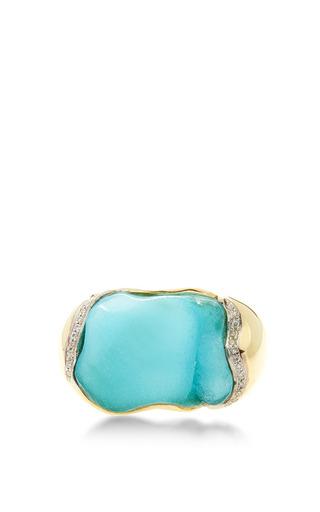 Medium kara ross blue 18k gold hemimorphite petra gemstone ring