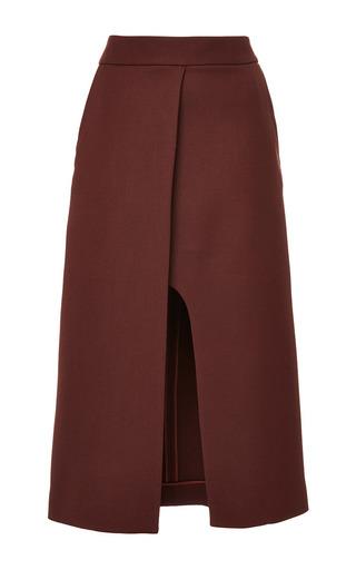 Medium rosetta getty red long panel wool slit skirt