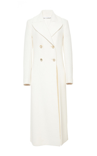 Medium rosetta getty white flouid boucle double breasted slit coat
