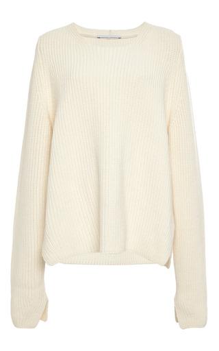 Medium rosetta getty brown crew neck slit sweater