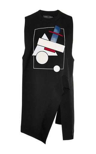 Medium proenza schouler black sleeveless bonded graphic jersey asymmetric top