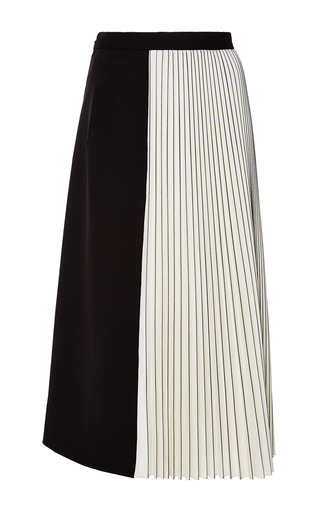 Black And Off White Wool Suiting Pleated Skirt by | Moda Operandi
