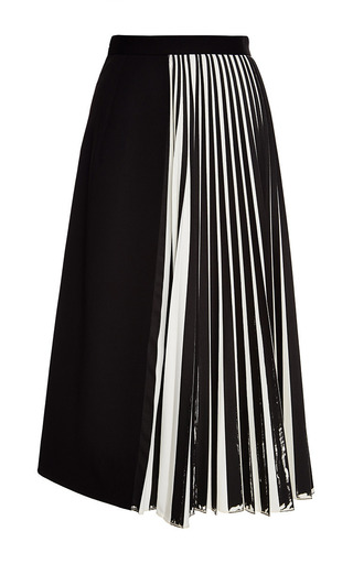 Off White And Black Wool Suiting Pleated Skirt by | Moda Operandi
