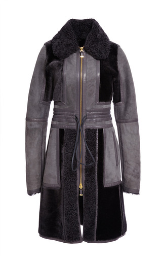 Medium j mendel dark grey shearling coat with leather strapping detail