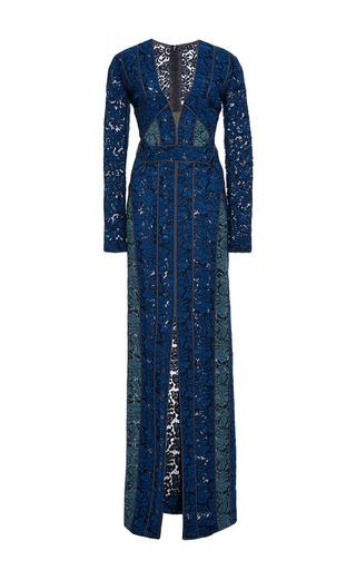 Medium j mendel blue floral lace bi color gown