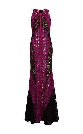 Medium j mendel multi floral lace tri color halter gown