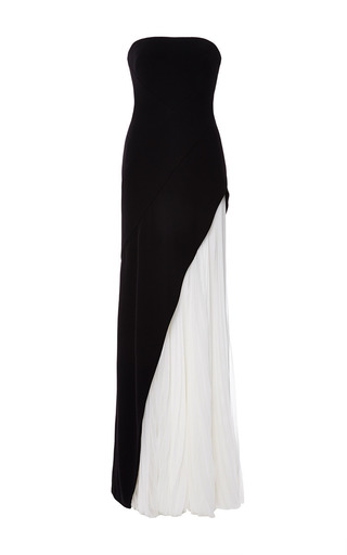Medium j mendel black strapless gown with pleated chiffon underlay