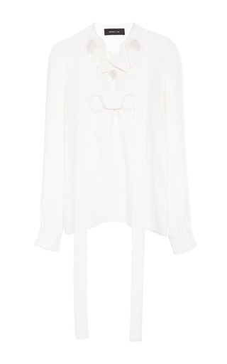 Medium derek lam white silk long sleeved lace up blouse