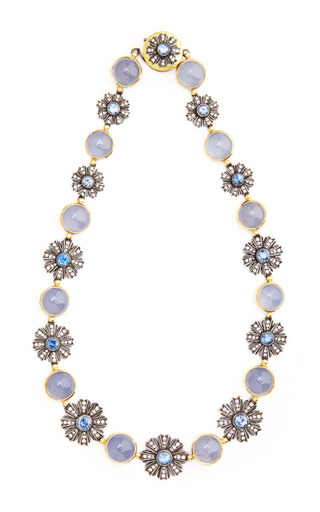 Medium arman sarkisyan blue one of a kind chalcedony and blue sapphire collar necklace