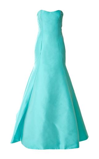 Medium monique lhuillier green mikado strapless gown