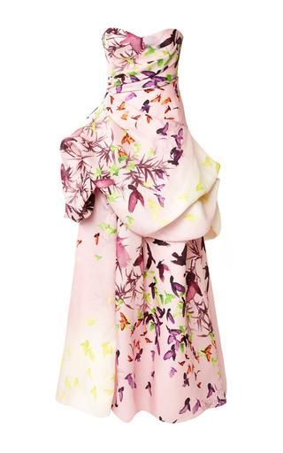 Medium monique lhuillier pink bird print gazar strapless ball gown