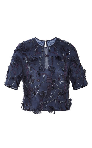 Medium monique lhuillier blue embroidered short sleeve top