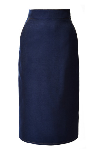 Medium monique lhuillier blue heavy denim pencil skirt