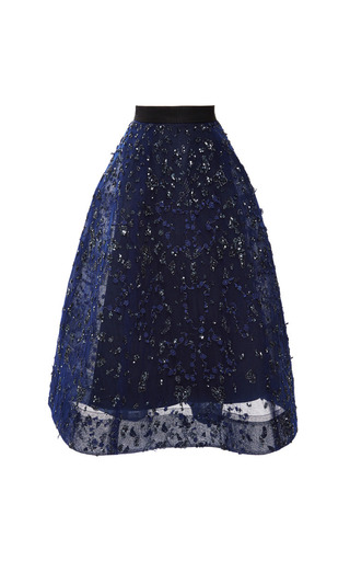 Medium monique lhuillier blue embroidered pleated skirt