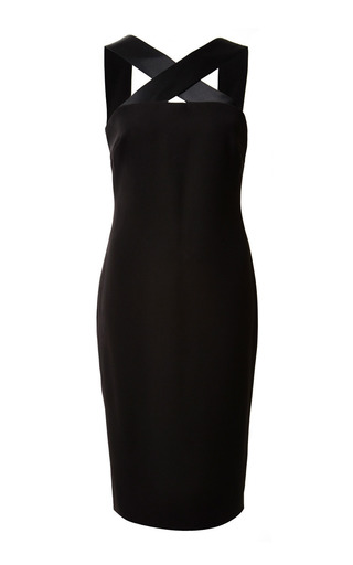 Medium monique lhuillier black crepe cross front dress