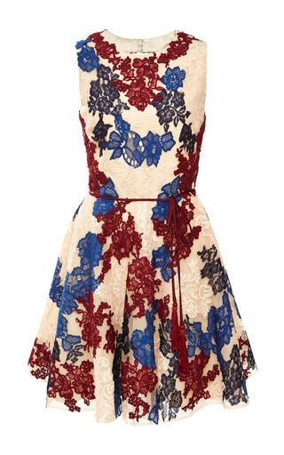 Medium monique lhuillier multi lace applique open back dress