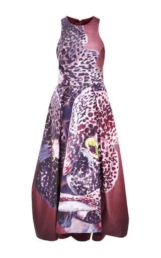 Medium monique lhuillier burgundy orchid print silk faille structured dress