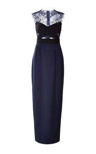 Medium monique lhuillier blue lace illusion column gown