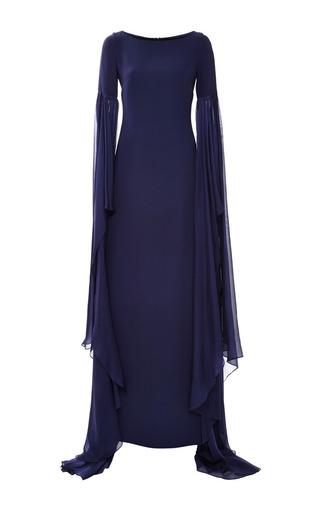 Medium monique lhuillier blue heavy georgette long sleeve gown