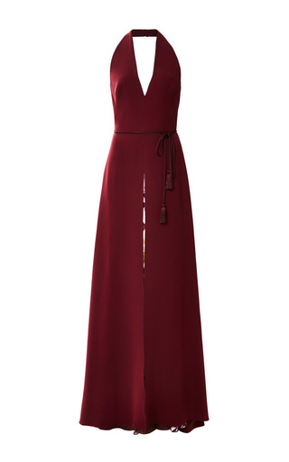 Medium monique lhuillier burgundy heavy georgette halter gown