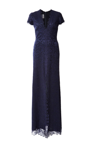 Medium monique lhuillier blue chantilly lace cap sleeve gown