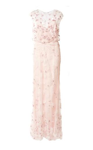 Medium monique lhuillier pink embroidered v neck blouson gown