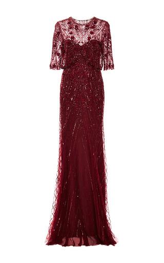 Medium monique lhuillier burgundy embroidered illusion gown