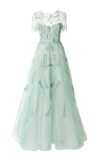 Medium monique lhuillier green embroidered short sleeve illusion gown