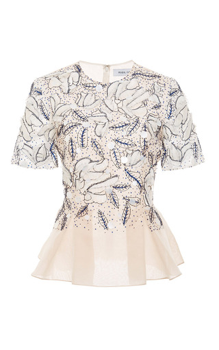 Medium prabal gurung pink embroidered peplum blouse