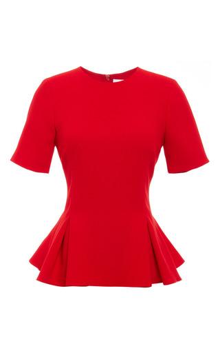 Medium prabal gurung red viscose crepe crewneck peplum blouse
