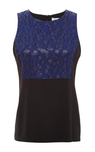 Medium prabal gurung multi speckle lurex chiffon crewneck blouse