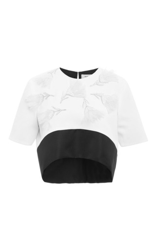 Medium prabal gurung white embroidered cropped combo blouse