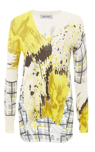 Printed Knit Draped Back Combo Sweater by PRABAL GURUNG Now Available on Moda Operandi