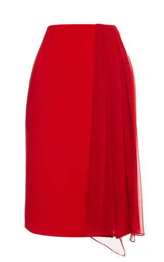 Medium prabal gurung red crimson viscose crepe pencil skirt with sash