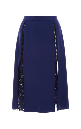 Medium prabal gurung blue speckle printed chiffon circle skirt with slits
