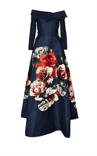 Medium carolina herrera multi flower bouquet faille ball gown