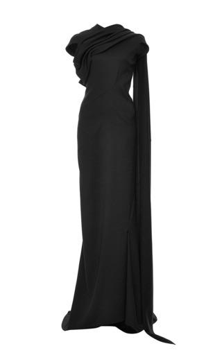 Medium zac posen black satin back crepe long dress
