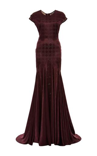 Medium zac posen purple perforated silk gown