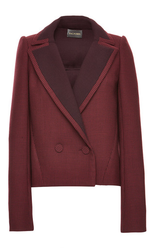 Medium zac posen burgundy oxblood double face houndstooth blazer