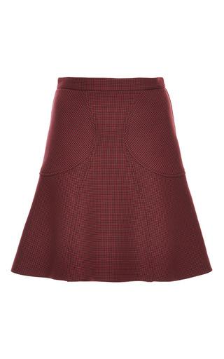 Medium zac posen burgundy oxblood double face houndstooth skirt
