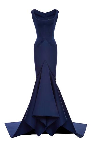 Medium zac posen blue solid neoprene flared gown