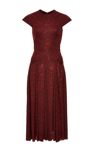 Medium zac posen burgundy floral jersey cap sleeve dress