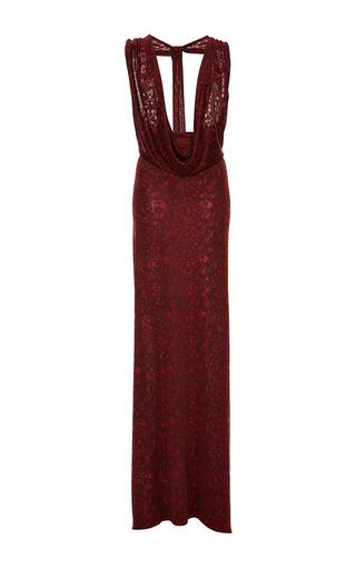 Medium zac posen burgundy floral jersey cowl neck gown