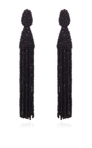 Medium oscar de la renta black classic long tassle black bead earring